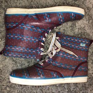 Ked Rain Boots Purple Tribal Triangle Faux Fur